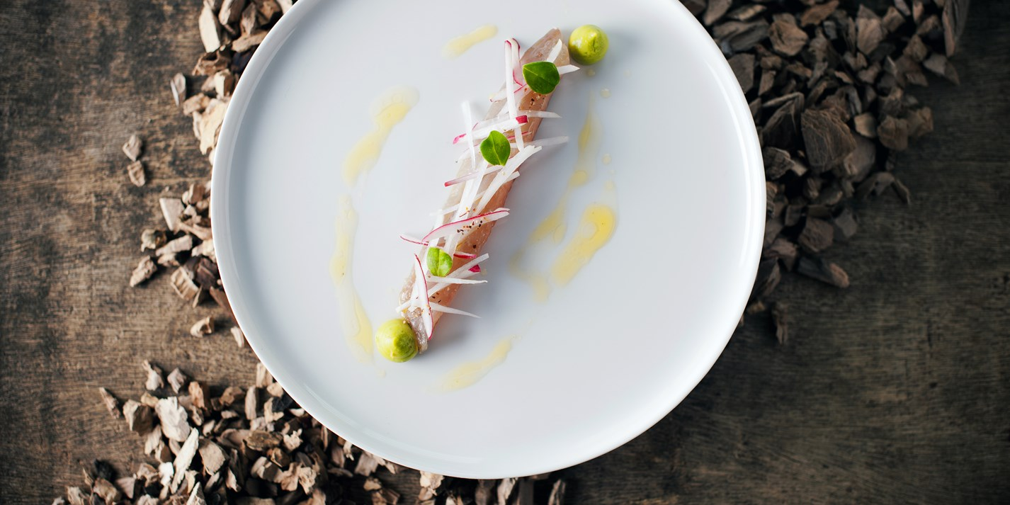 Smoked mackerel with avaocado and bergamot