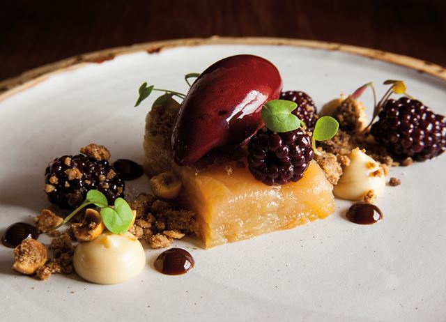 Hedgerow – pressed apple with elderberry sorbet and brambles