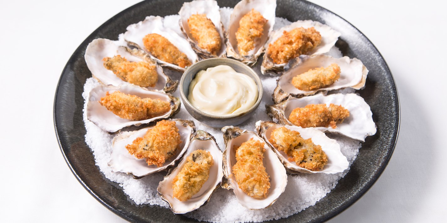 Crispy focaccia oysters with oyster mayonnaise