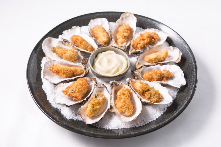Crispy focaccia fried oyster recipe great british chefs for How to make canape shells at home
