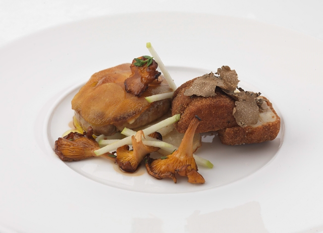 Roasted foie gras with apple, celeriac and truffle beignets