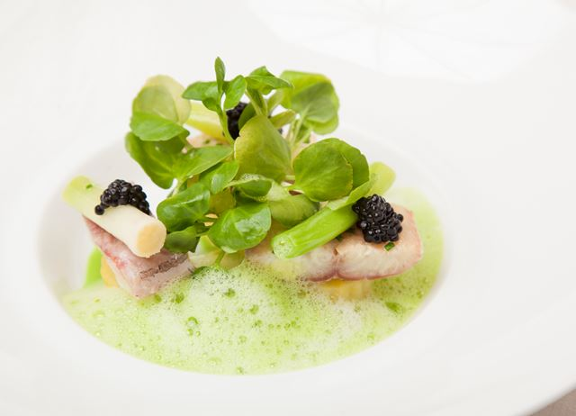 Smoked eel with leek, potato and watercress velouté