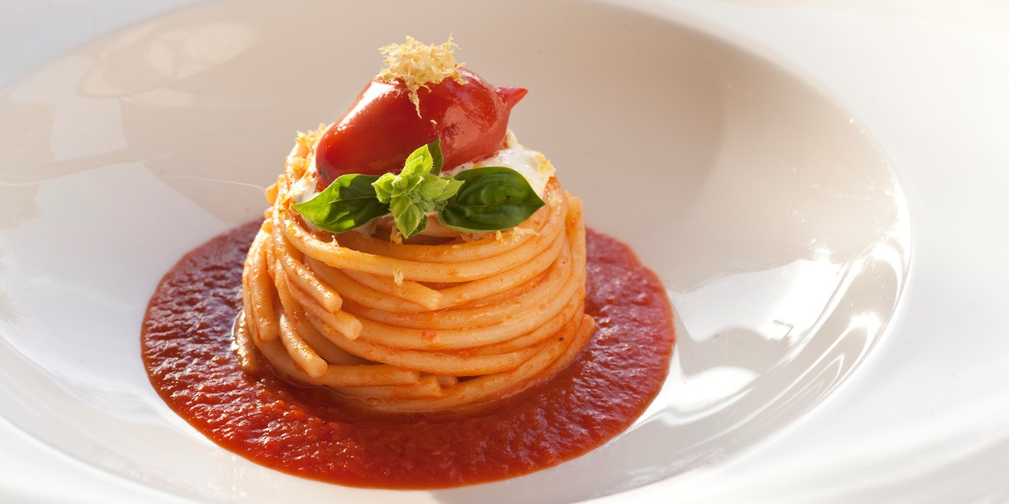 Spaghetti with Piennolo tomatoes and burrata