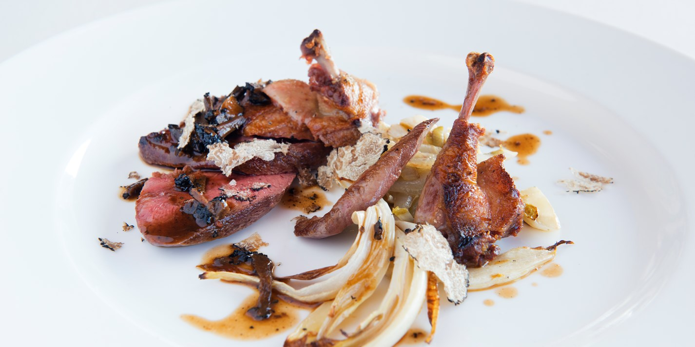 Pigeon with star anise, endive and black truffle