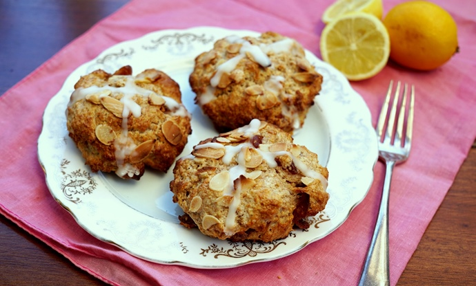 Cherry, lemon and almond hot cross scones