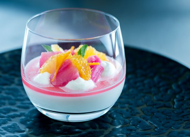 Baked Yoghurt with Poached Rhubarb