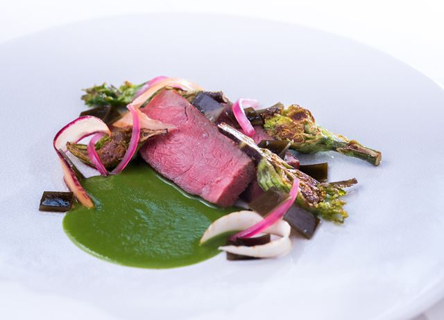 Beef striploin with alexanders and braised kombu