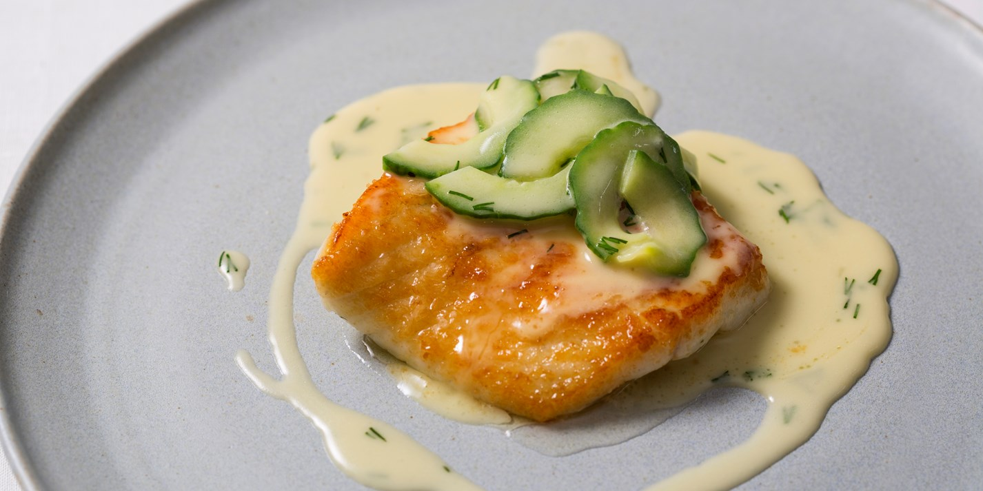 Turbot with cucumber beurre blanc