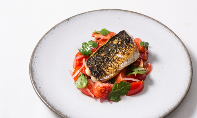Grilled mackerel with tomato ceviche