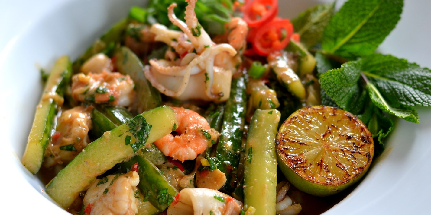 Vietnamese seafood and cucumber stir-fry