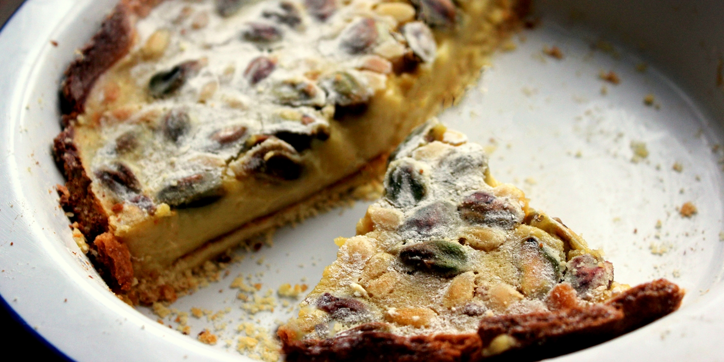 Lemon Pistachio and Pine Nut Tart