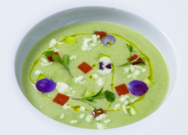Iced cucumber soup with feta cheese crumble