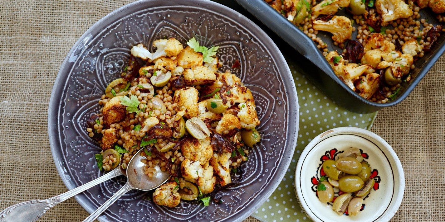 Fregola salad with roast spiced cauliflower, saffron, dates and olives