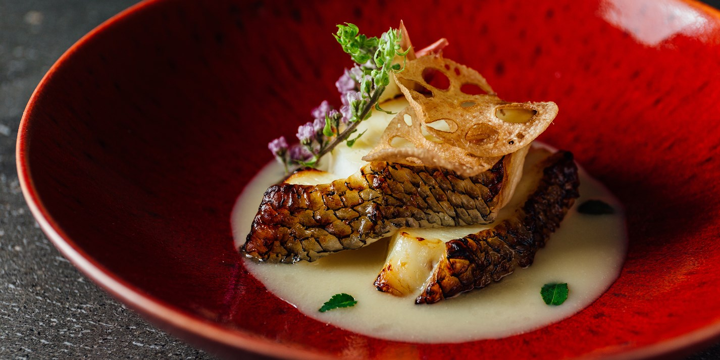 Chilean sea bass with Champagne yuzu-miso sauce