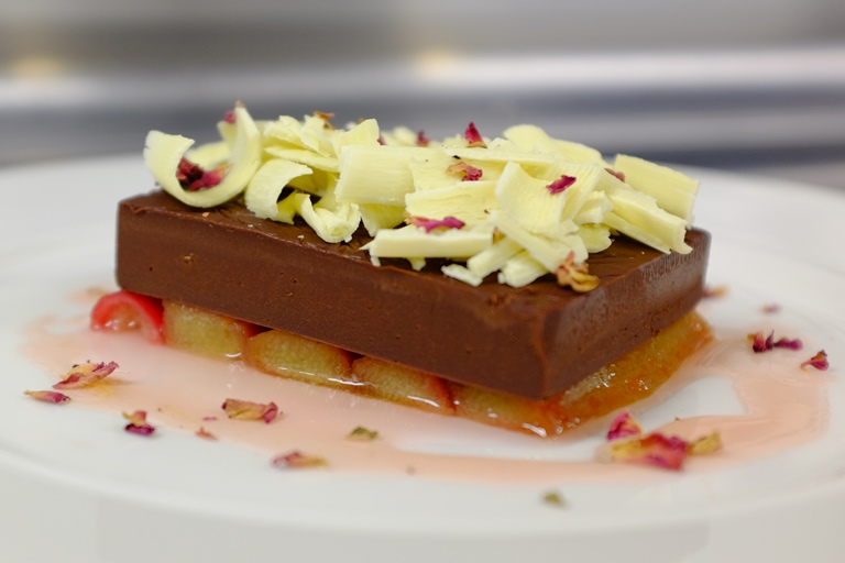 Rhubarb with Earl Grey tea chocolate ganache, white chocolate and rose