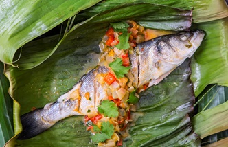 Barbecue sea bass escabeche