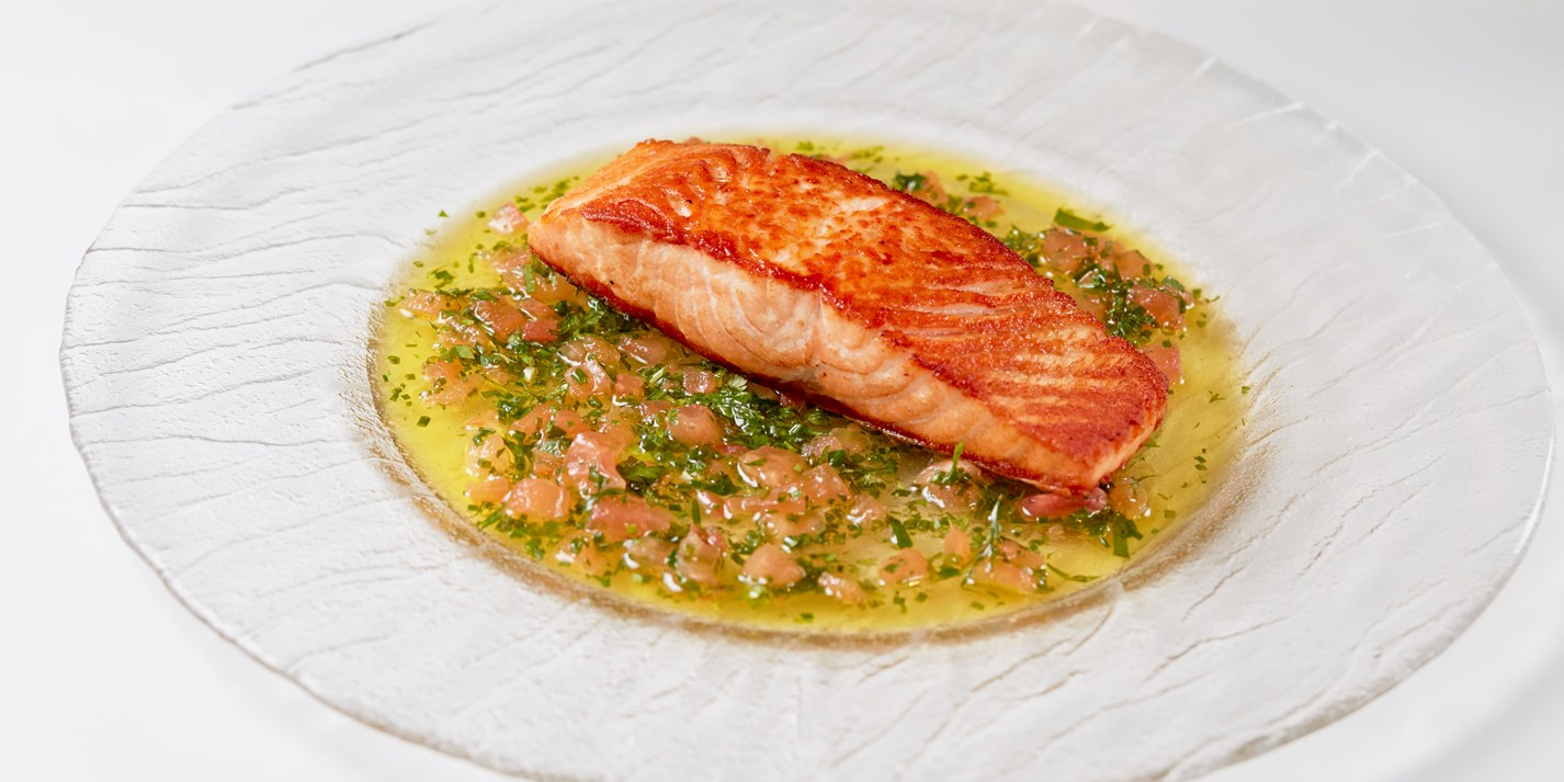 Sauce Vierge With Pan Fried Salmon Recipe Great British Chefs
