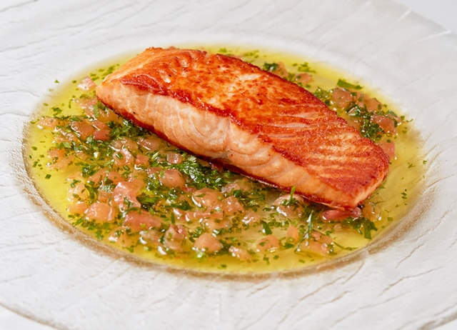 Sauce vierge with Salmon