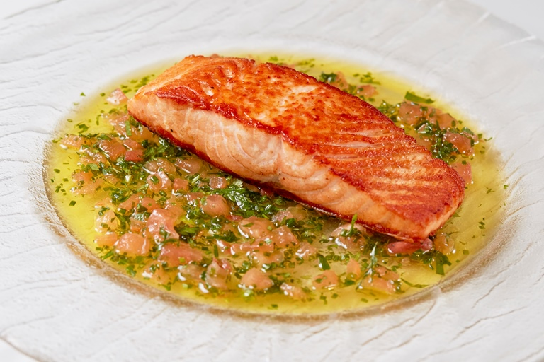 Sauce Vierge With Pan Fried Salmon Recipe Great British