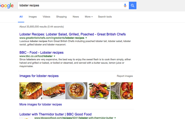 Lobster recipes Google Ranking
