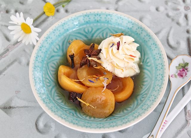 Mirin and spice poached apricots with cardamom cream