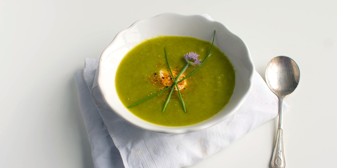Summer cucumber soup with crème fraîche dusted with shichimi pepper