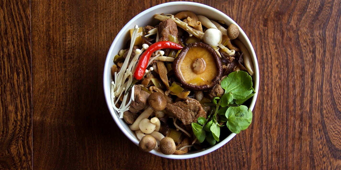 Beef and mushroom dashi stew