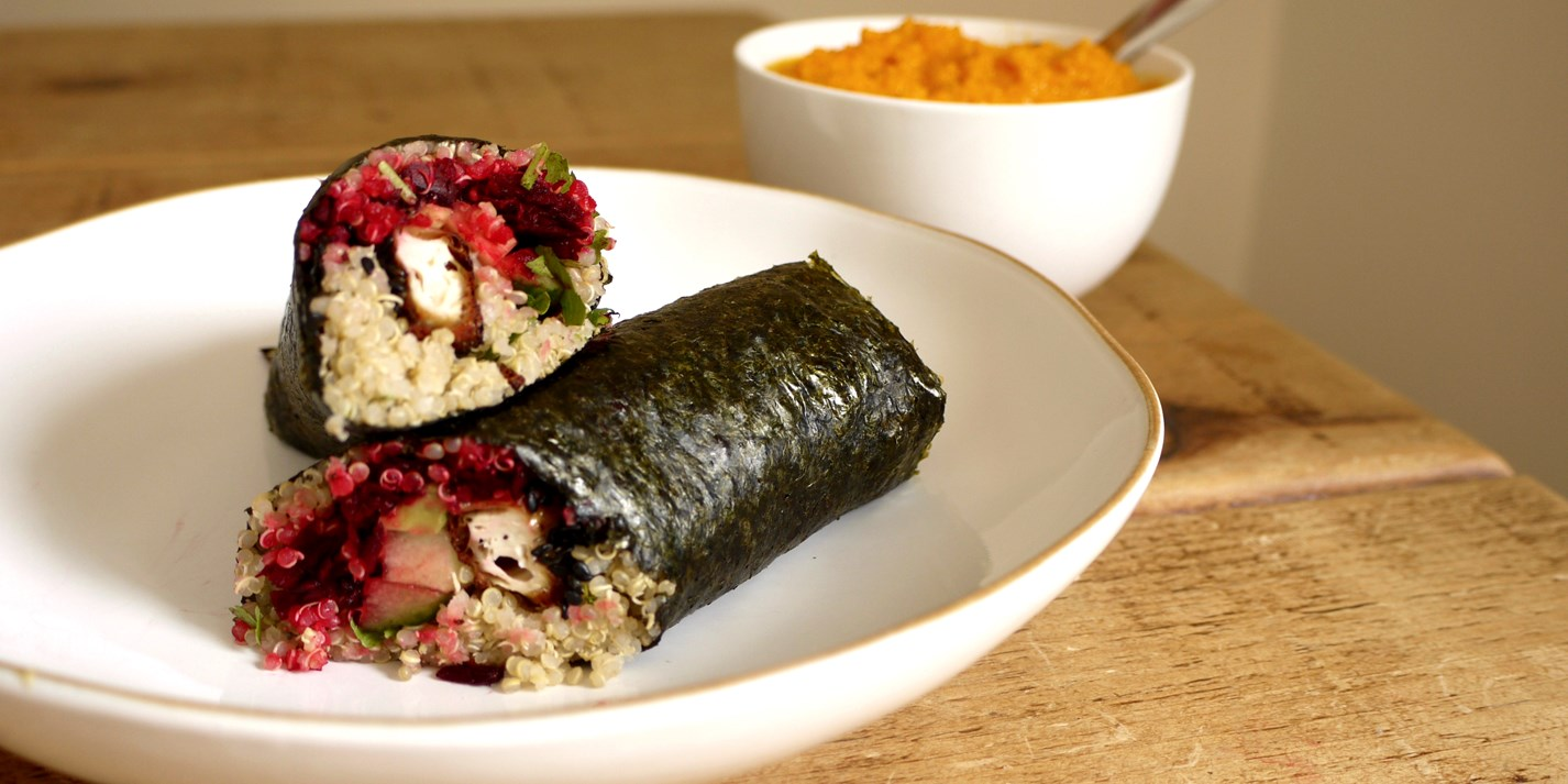 Sesame tofu nori wraps with carrot and ginger dipping sauce