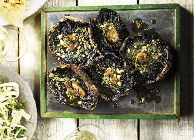 Grilled mushrooms with rosemary, garlic and soy butter