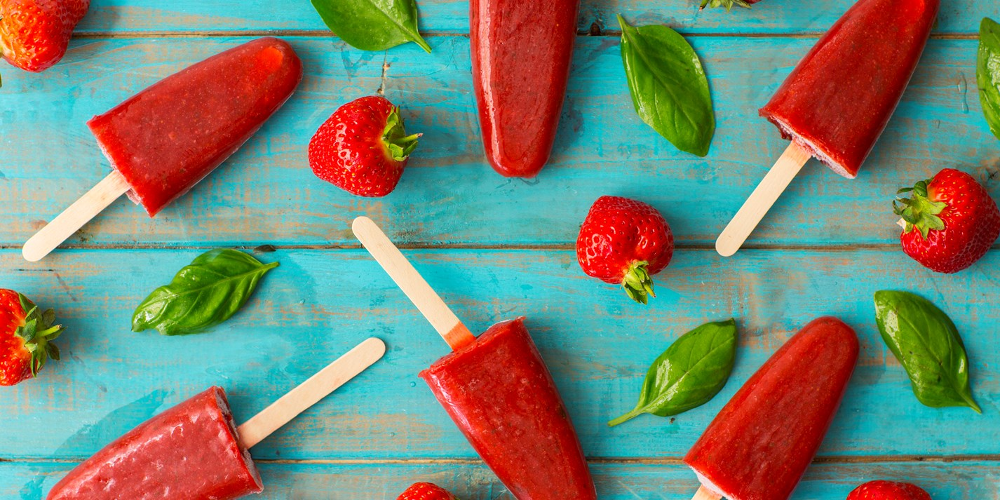Strawberry margarita ice lollies