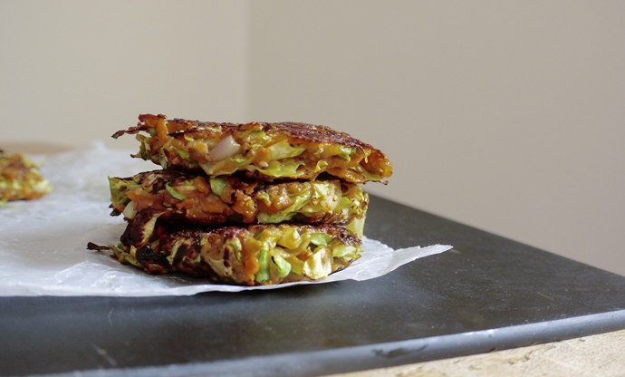Okonomiyaki - sweet potato and cabbage pancakes