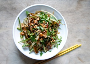 Cold cucumber and shirataki noodle salad with hot Sichuan sesame dressing