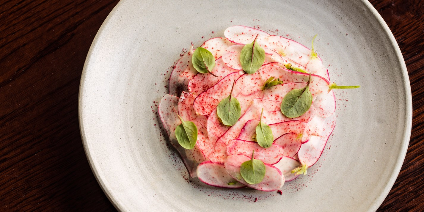 Crudo of halibut, smoked cream and heritage radishes