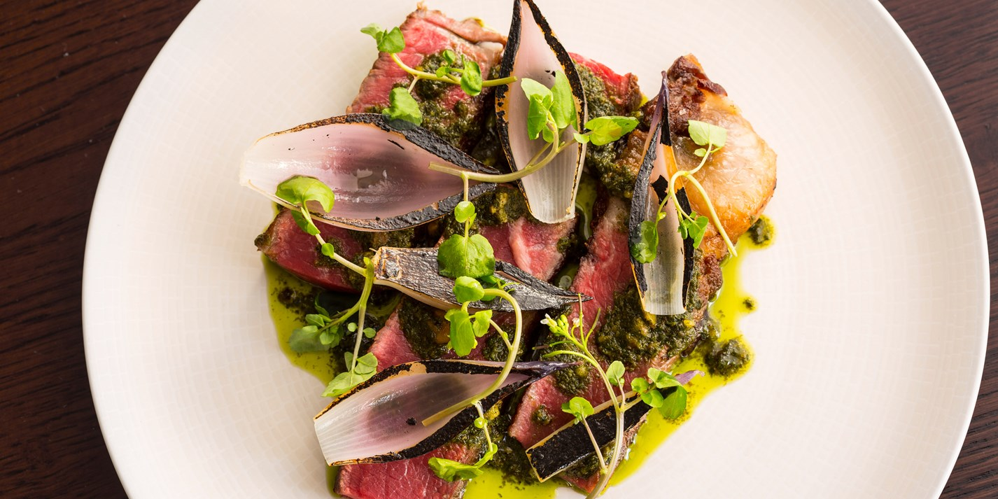 Longhorn beef sirloin, pickled walnut salsa verde and tropea onions