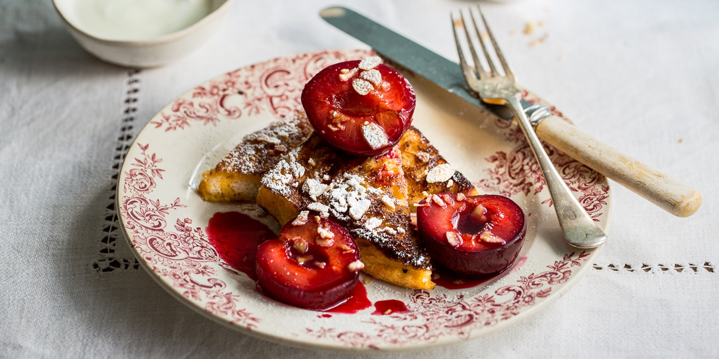 Spiced roast plum and almond French toast
