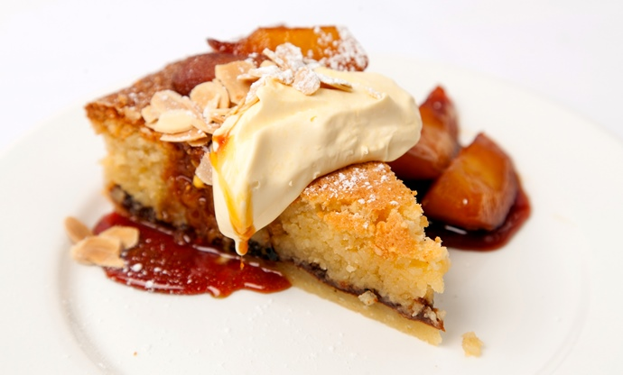 Almond tart with medlar jam, caramelised apples and Jersey cream