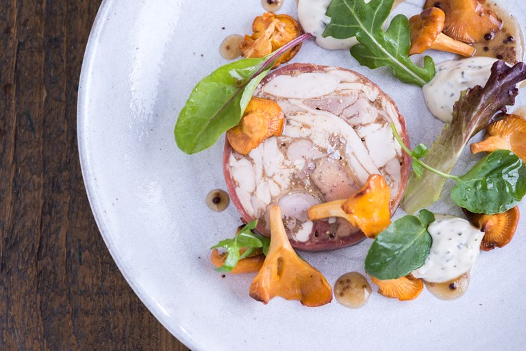 Chicken, liver and ham terrine, pickled girolles, tarragon mayonnaise and honey mustard dressing