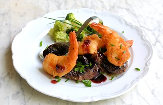 Atlantic surf and turf with ice wine sauce