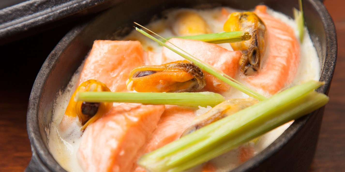 Fjord trout, mussels, ginger and lemongrass gratin