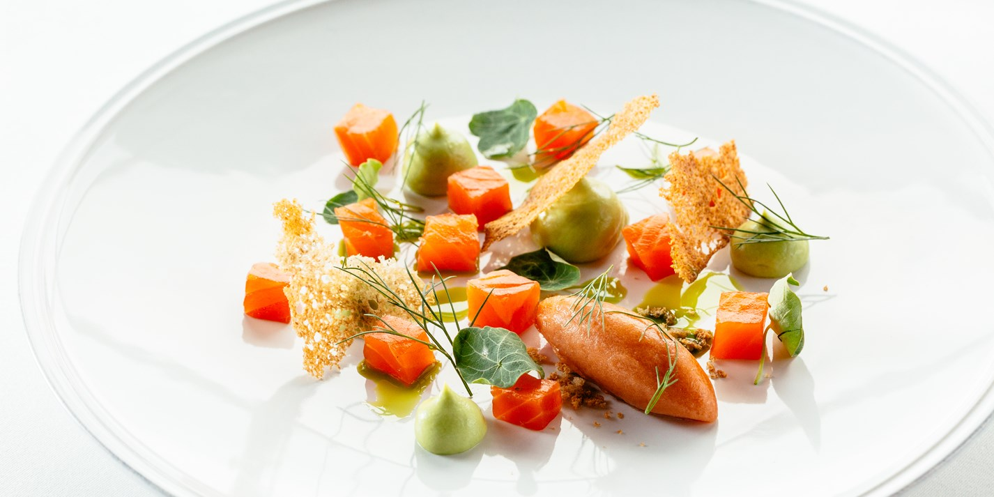 Dill and vodka cured trout with Bloody Mary sorbet, cucumber and avocado