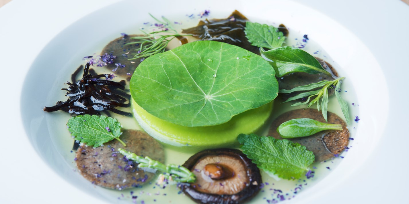 Seascape with doubloons of buckwheat, pea cream, yuzu and lemongrass broth