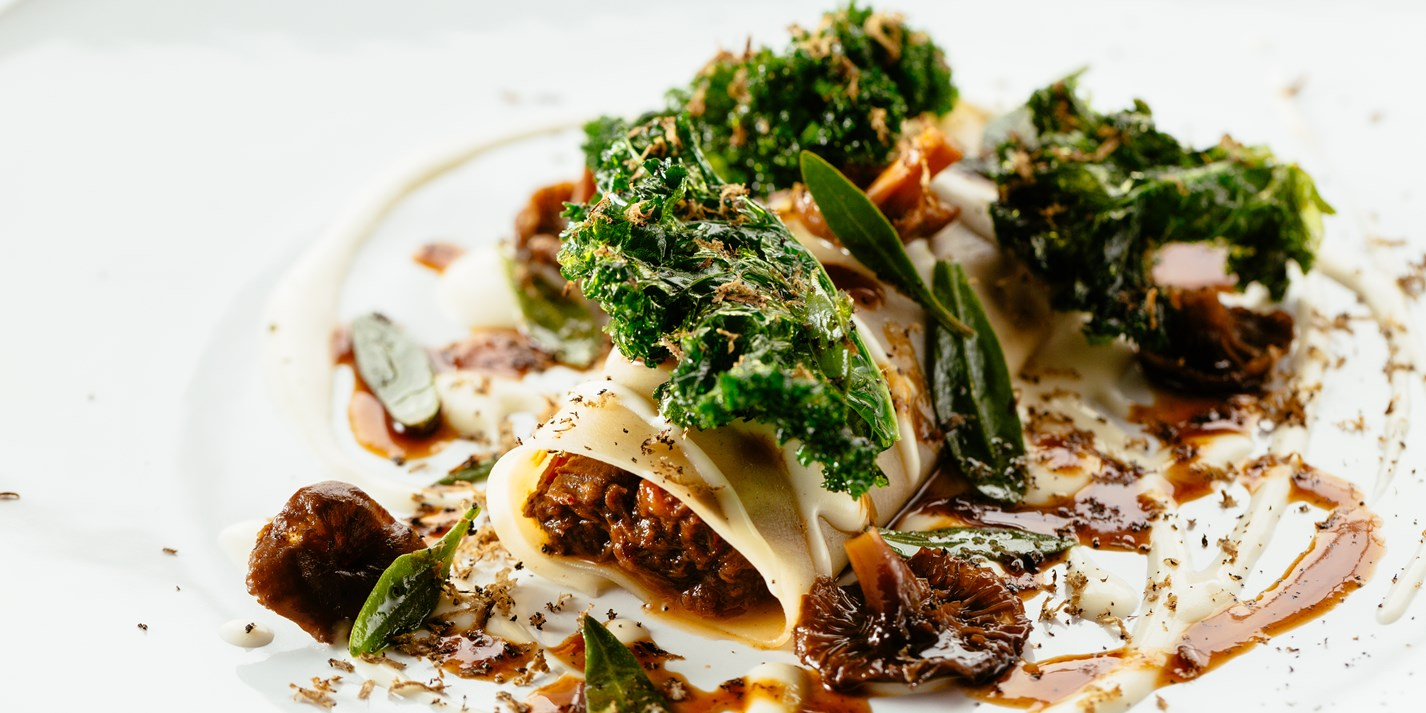 Venison cannelloni with kale, Parmesan and wild mushrooms