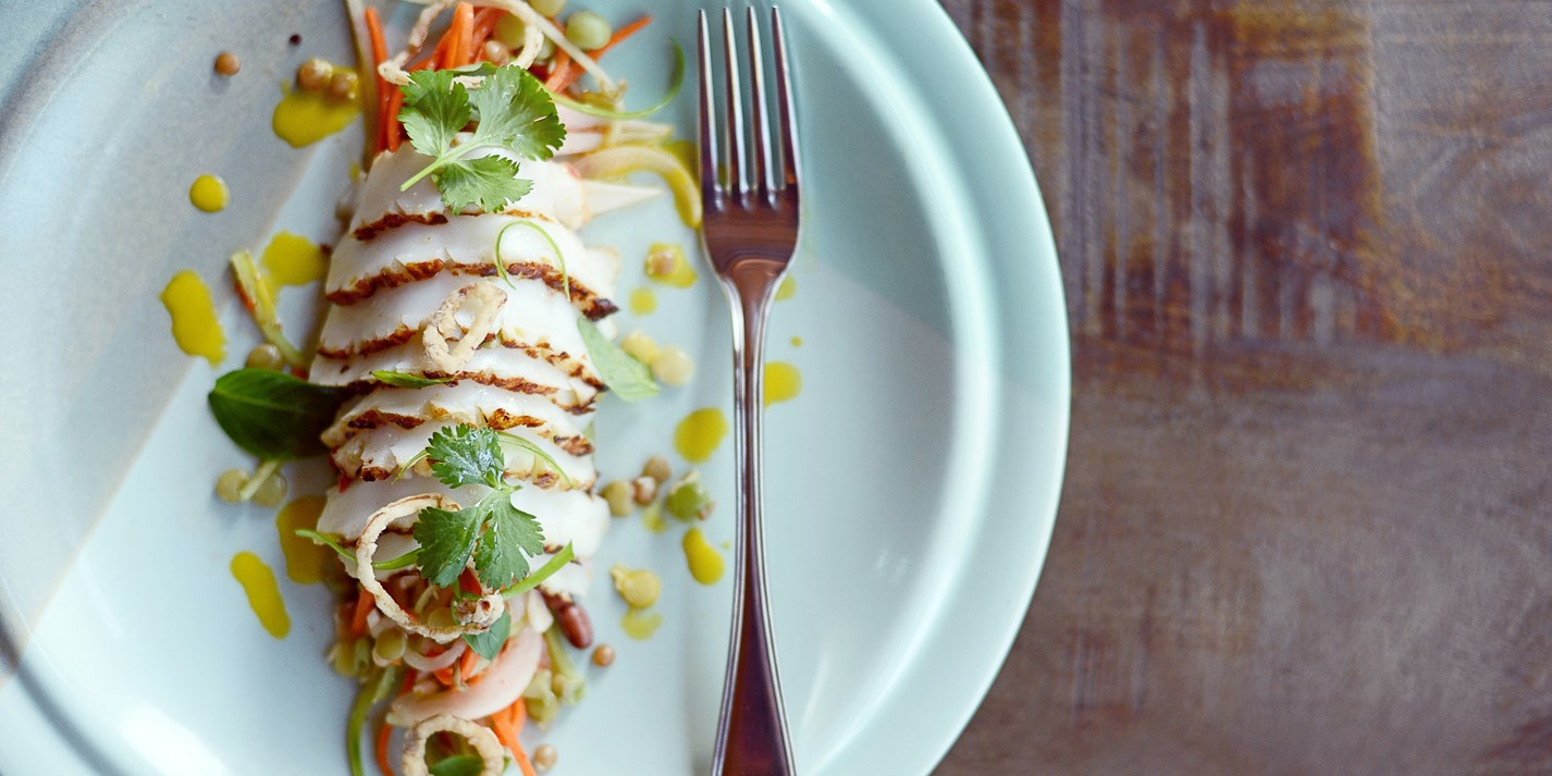 Charred humboldt squid with Vietnamese coleslaw