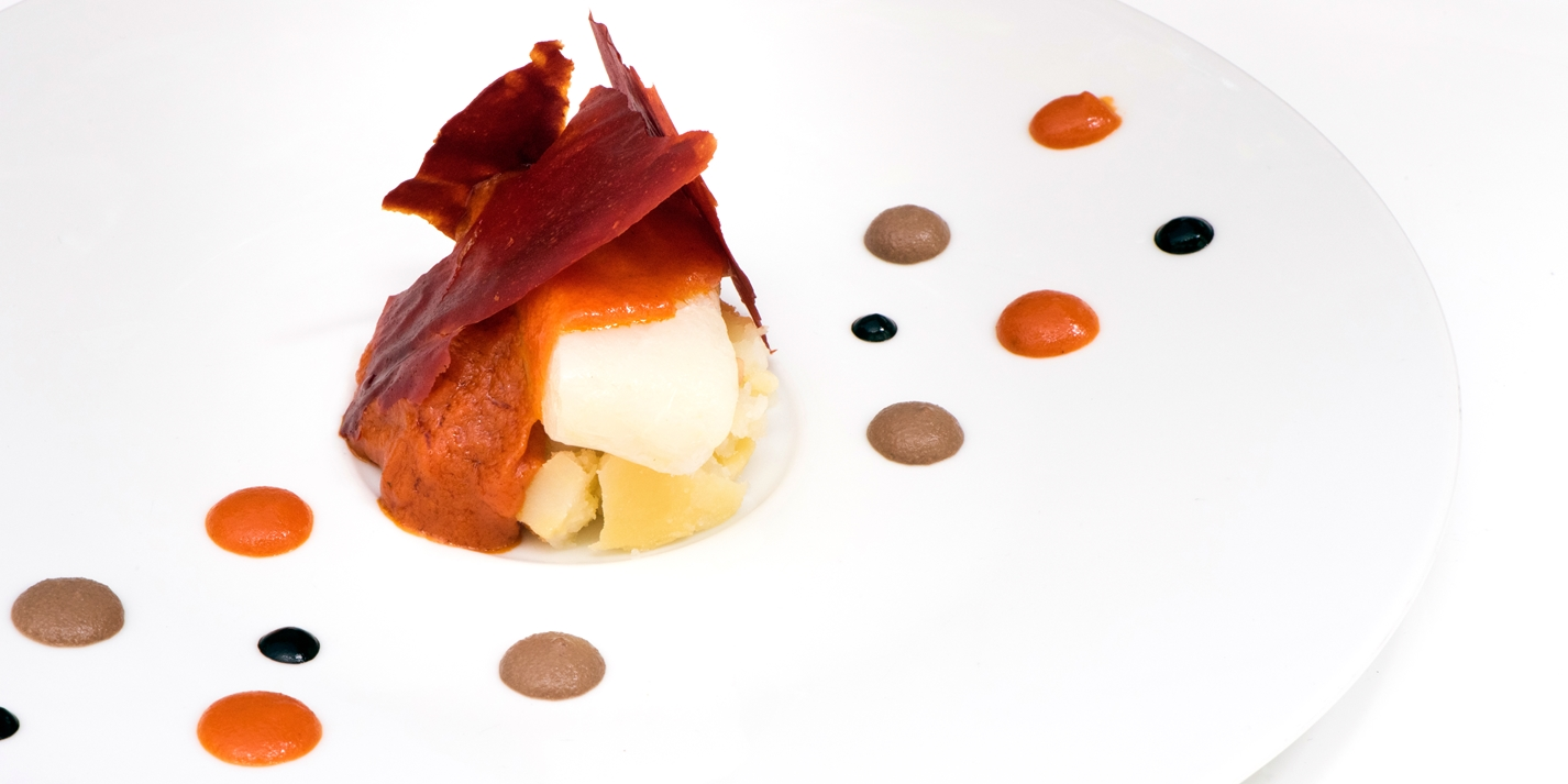 'Ligurian cod' - salt cod with tomato, olive cream and potato
