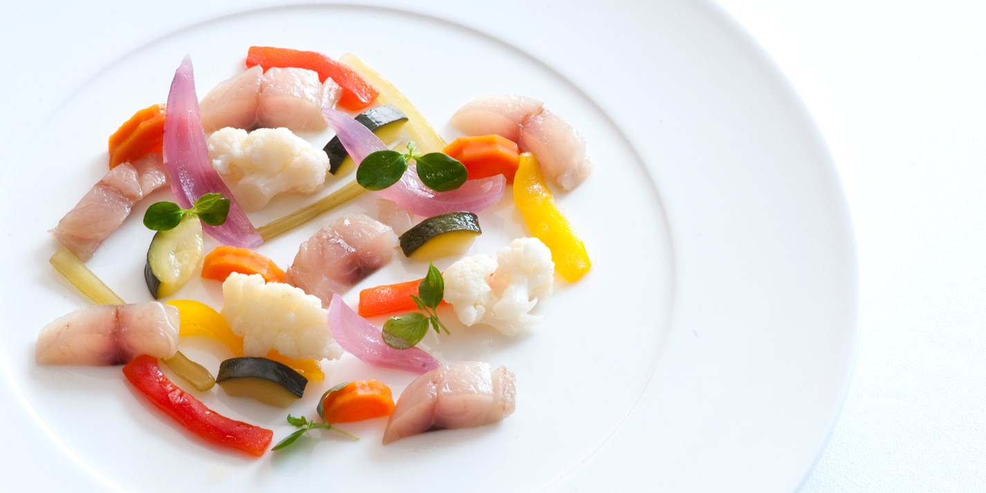 Cured mackerel with pickled vegetables
