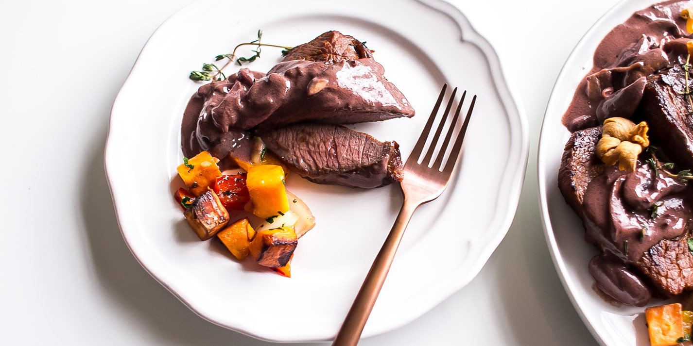 Ostrich steak with wine and mushroom sauce