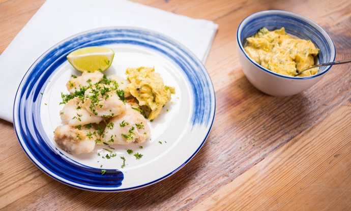 Skate cheeks with dill and caper mayonnaise