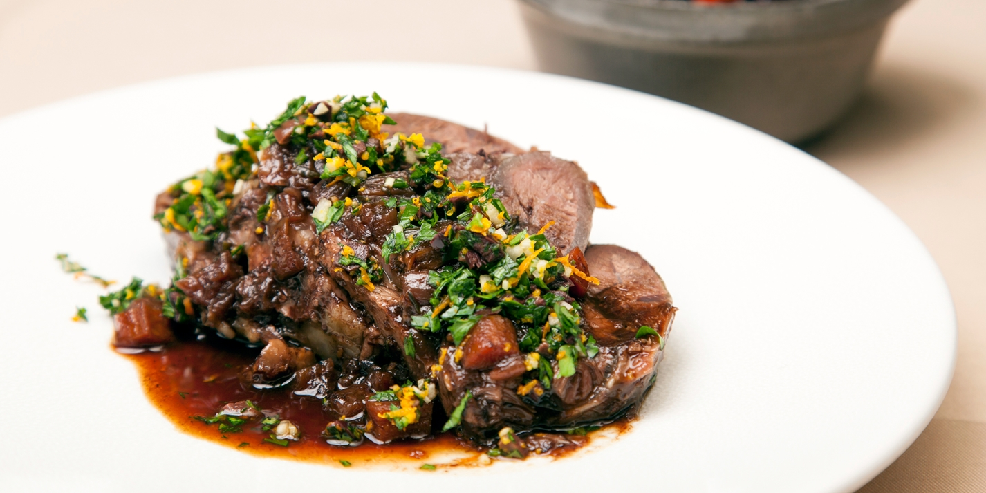 Braised beef shin with gremolata