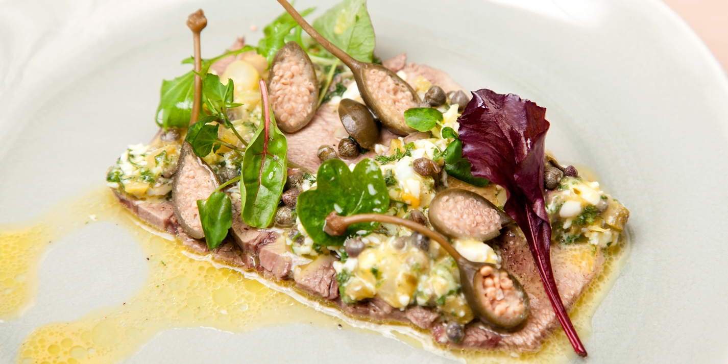 Beef tongue with caper sauce