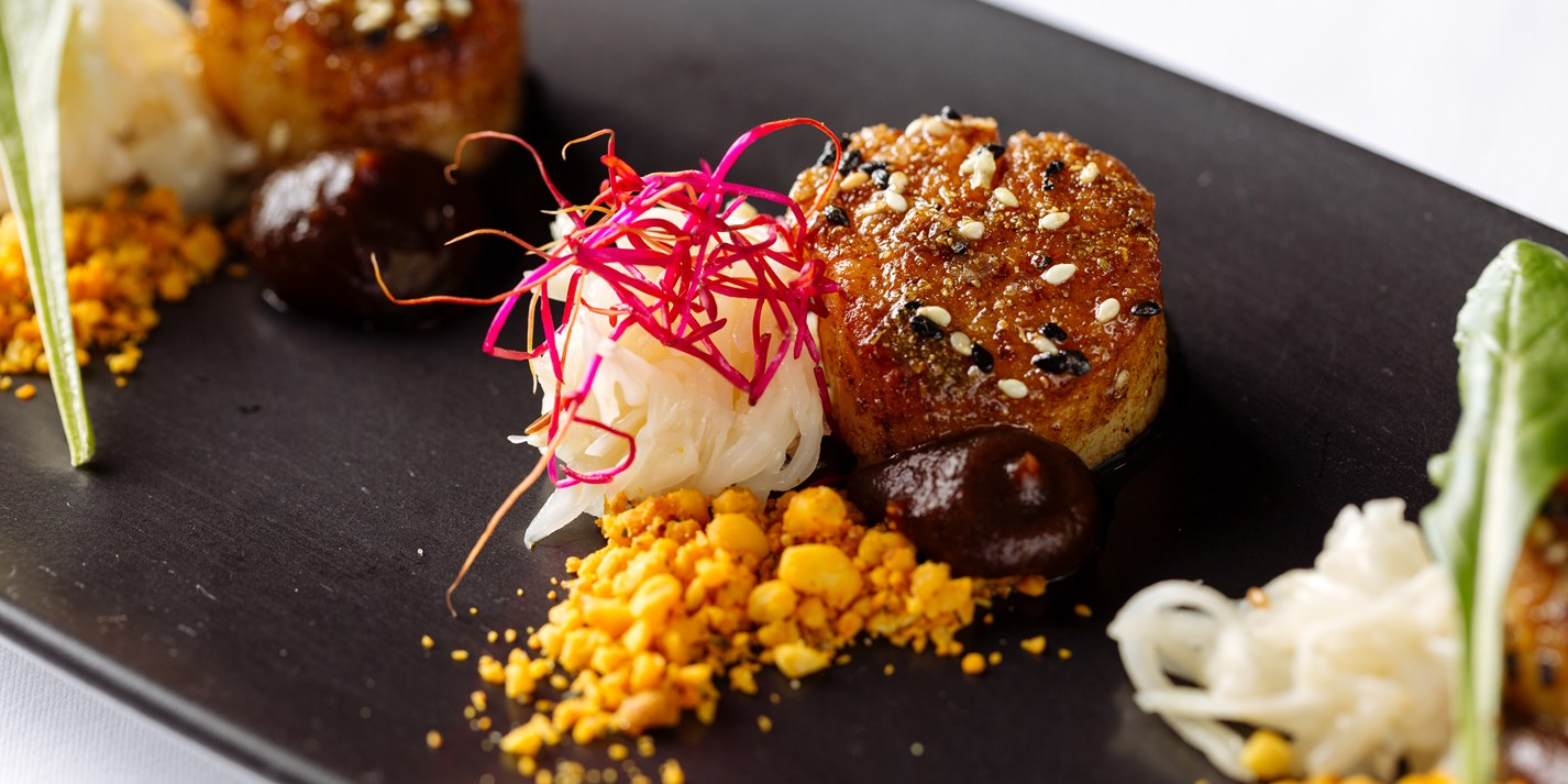 Jal Tarang - scallops with pickled celariac and pine nut podi